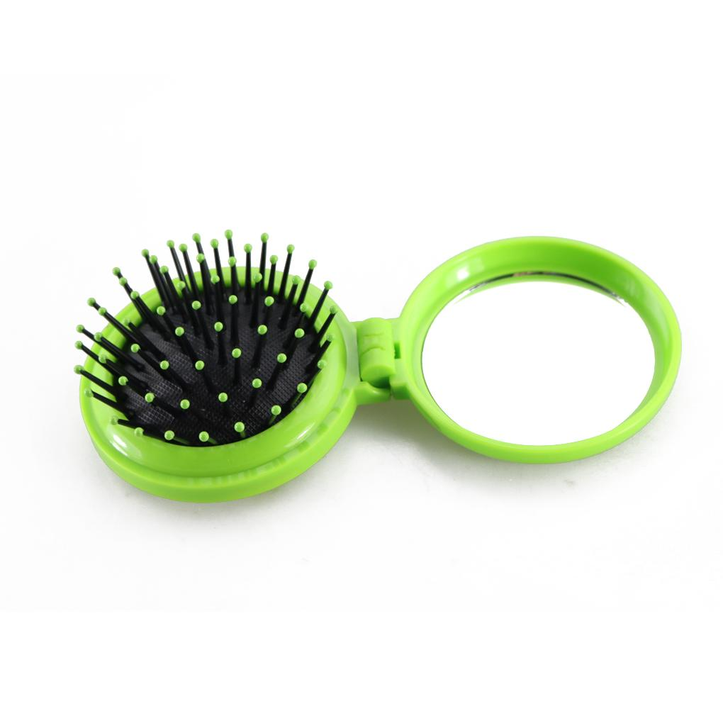 1pc Random Colors lovely New combs Girls women Portable Mini Folding Comb Airbag Massage Oval Travel Hair brush With Mirror