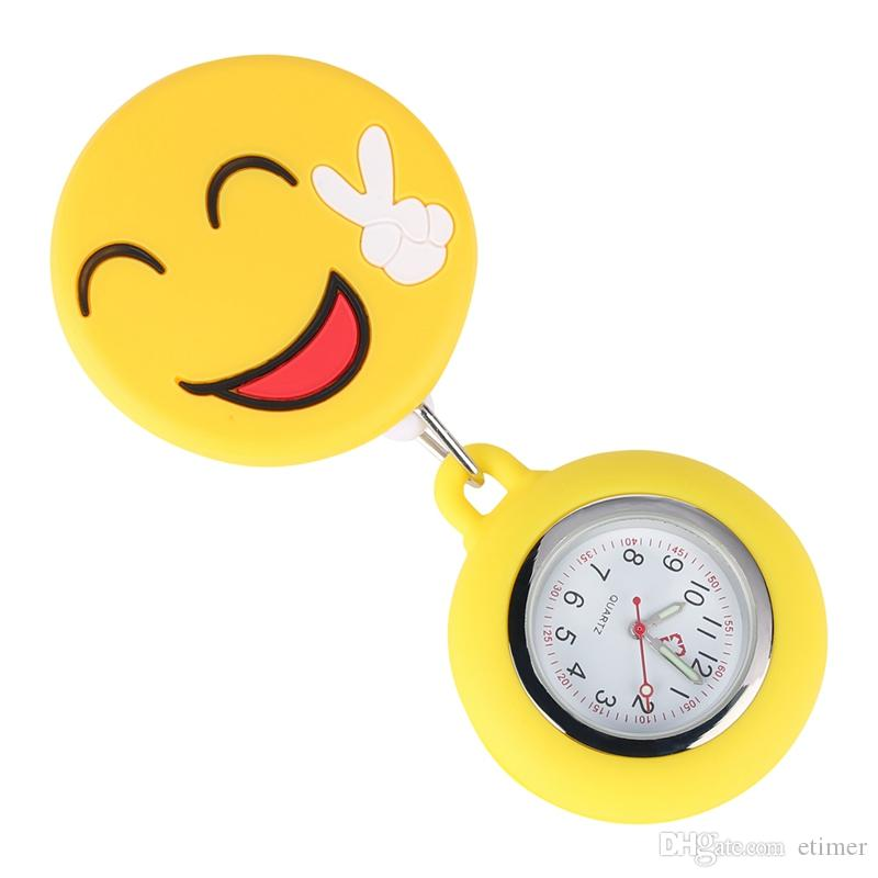 Unique Ornamental Smiling Face Silicone Nurse Pocket Watch Retractable Rope with Stainless Steel Clip Luminous Function Pendant Watches