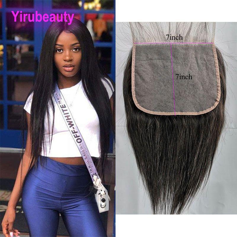 Virgin indiano capelli 7X7 chiusura del merletto dei capelli diritti umani 8-26inch serica 7 Con 7 Top chiusura del merletto Yirubeauty Natural Color