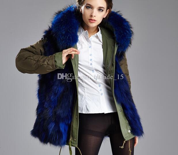 Femmes résistant au froid manteaux marque Meifeng bleu fourrure de raton laveur garniture de fourrure de renard bleu doublure armée vert toile mini parkas