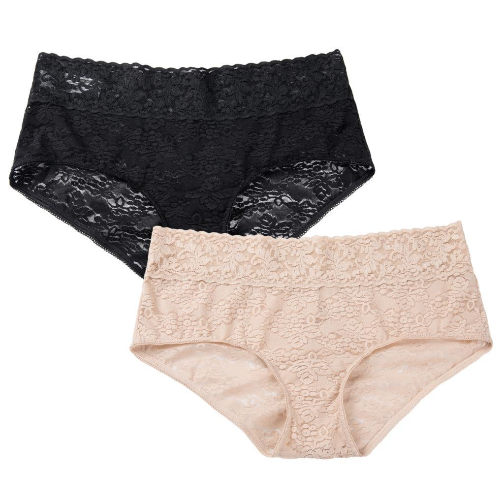 Mulheres Sexy 2 Pacote Baixo Rise Sheer Lace Respirável Calcinhas Hipster Plus Size