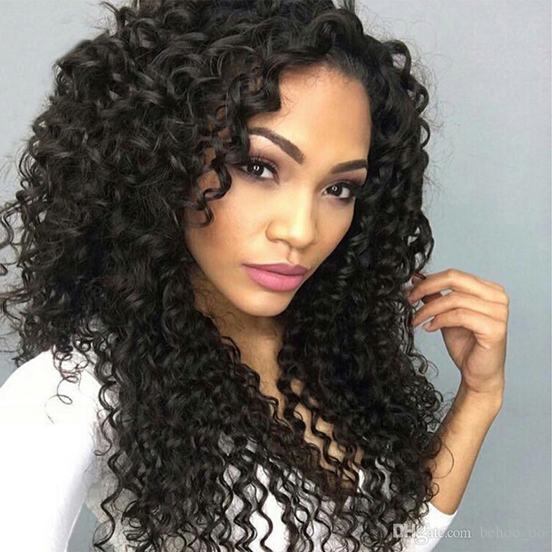 Parrucche ricci capelli umani davanti pre-acconciati capelli remy brasiliani parrucca piena del merletto con i capelli del bambino colore naturale 8-26 ''