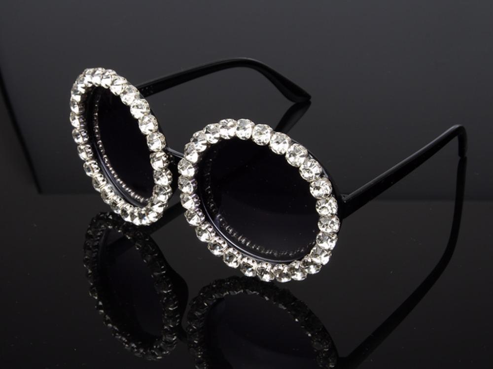 homens tons Atacado-Novo Luxo Oversize Sunglasses Mulheres do vintage Pedrinhas óculos redondos s para as mulheres oculos feminino