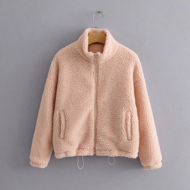Webpelz Teddybär Mantel Frauen Herbst Winter rosaer Mantel Jacke Mode dicke Taschen flauschiges Fell kurz Oberbekleidung Rollkragen