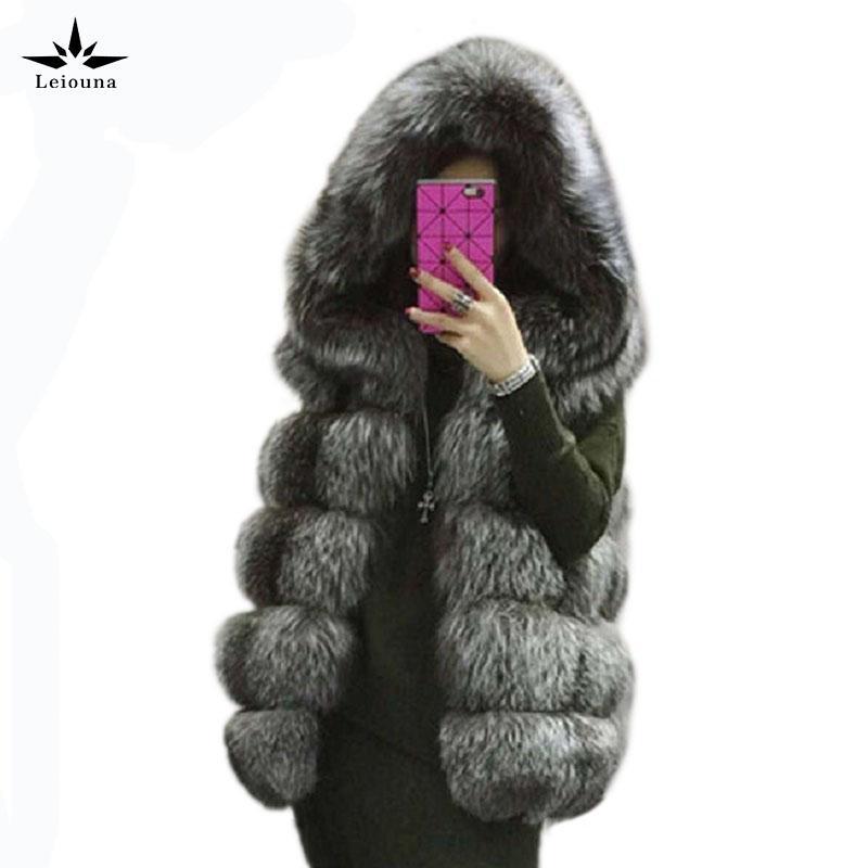 Leiouna Lange 2020 Pelz-Mäntel für Femal Wintermantel plus Größe Frauen Freizeitjacke Fashion Pelz Faux Mink