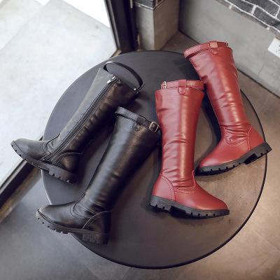 아이 디자이너 부츠 여자 럭셔리 하이 부츠 겨울 따뜻한 가죽 부츠 어린이 솔리드 Solor 신발 새로운 패션 스타일 2019 가을 양질