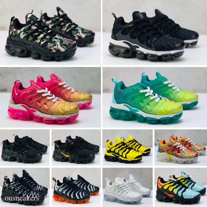 Nike Air Max Tn plus 2019 crianças de tenra idade TN Breathable 2.0 Rainbow Mesh Running Sneakers tns Air Cushion children pour enfants Athletic sport Shoes Plus trainers