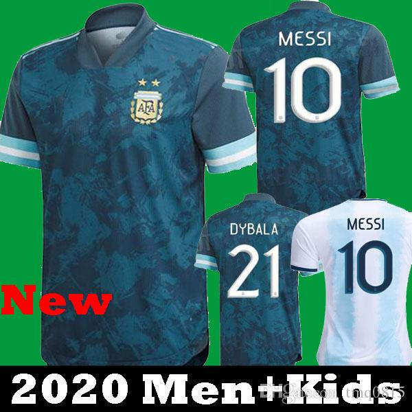 Copa America 2020 ARGENTINA away SOCCER JERSEYS KIT небесно-голубой Месси Дыбала Кун Агуэро Игуаин 20 21 футбольные рубашки 2021 дети camisetas home