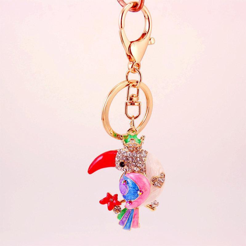 Colorful catena chiave glitter smalto Accessori Parrot auto a goccia olio animale del pendente della lega del sacchetto di Keychain Accessori portachiavi 3pcs Holder