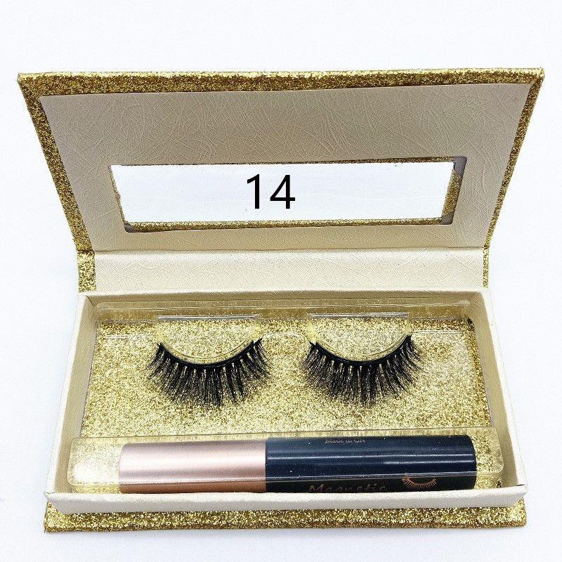 6D Manyetik Likit Eyeliner Manyetik Yanlış Eyelashes Seti Mıknatıs Yanlış Eyelashes Seti Tutkal Araçları Makyaj 14 stilleri DHL ücretsiz