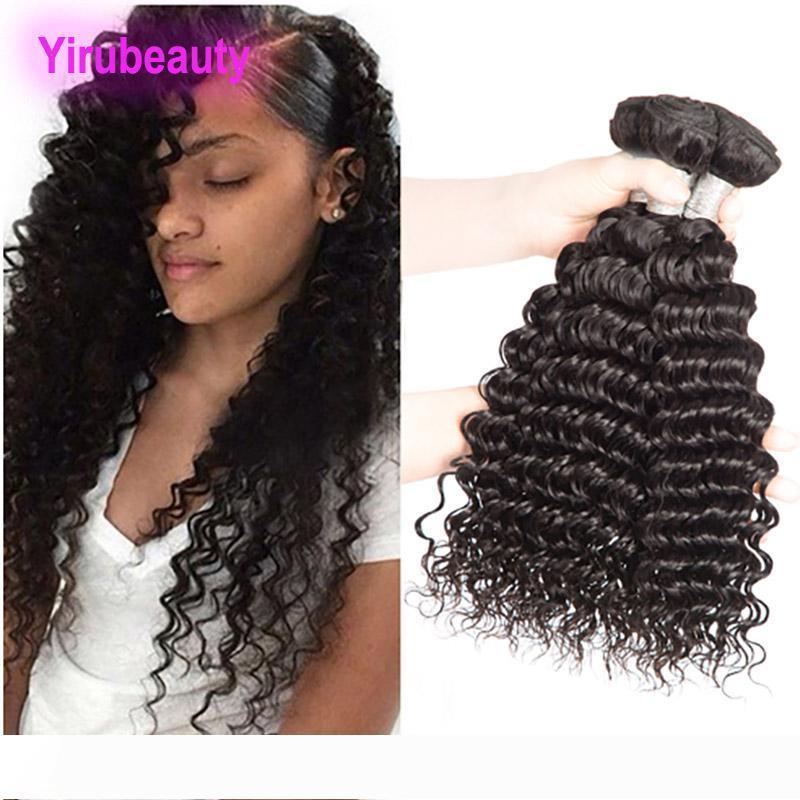 Brezilyalı İnsan Saç 3 Paketler Derin Dalga Kıvırcık Saç Uzantıları Perulu Hint Malezya Bakire Saçın 95-100g parça