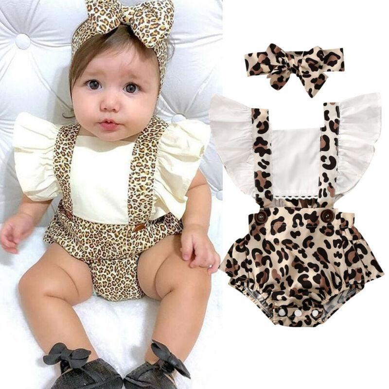Goocheer 2020 vestiti del bambino estate infante appena nato neonata copre leopardo della tuta della tuta fascia 2Pcs Outfits