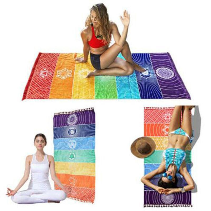 NOVO arco-íris listra Scarf Bohemia Tapeçaria Índia Mandala Blanket 7 Chakra colorido tapeçaria Verão Boho Toalha de praia Yoga Mat