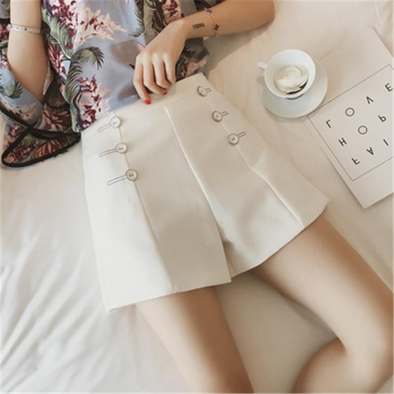 Oversize Shorts Mulheres cintura alta Chiffon solto Curto Feminino 2020 Verão A-line Zipper Casual Hot Shorts Plus Size L-4XL RM50161