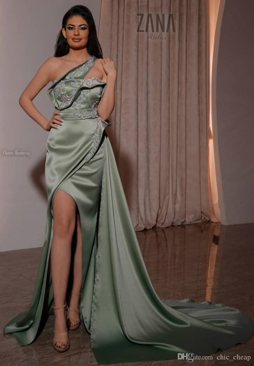 Aso Ebi 2020 Arabic Sage Lace Beaded Evening Dresses Sexy Mermaid Prom Dresses High Split Formal Party Second Reception Gowns ZJ254