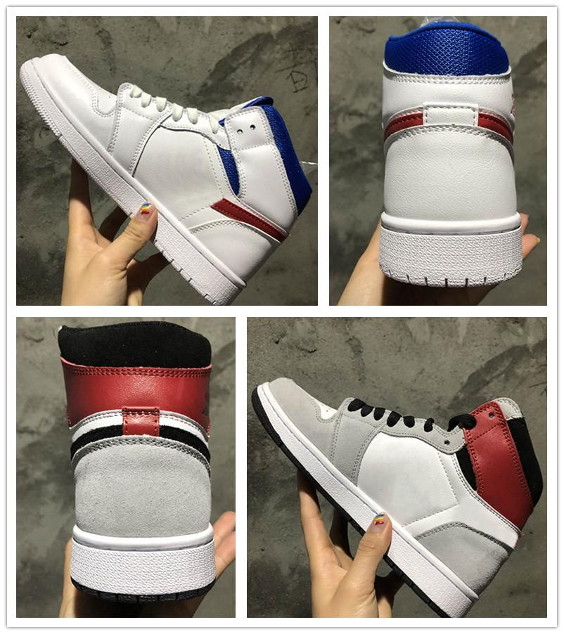J1 High OG Light Smoke Grey Black Men Basketball Sports Shoes hot selling Sneakers 1s Mid White University Red Game Royal Athletic Shoes