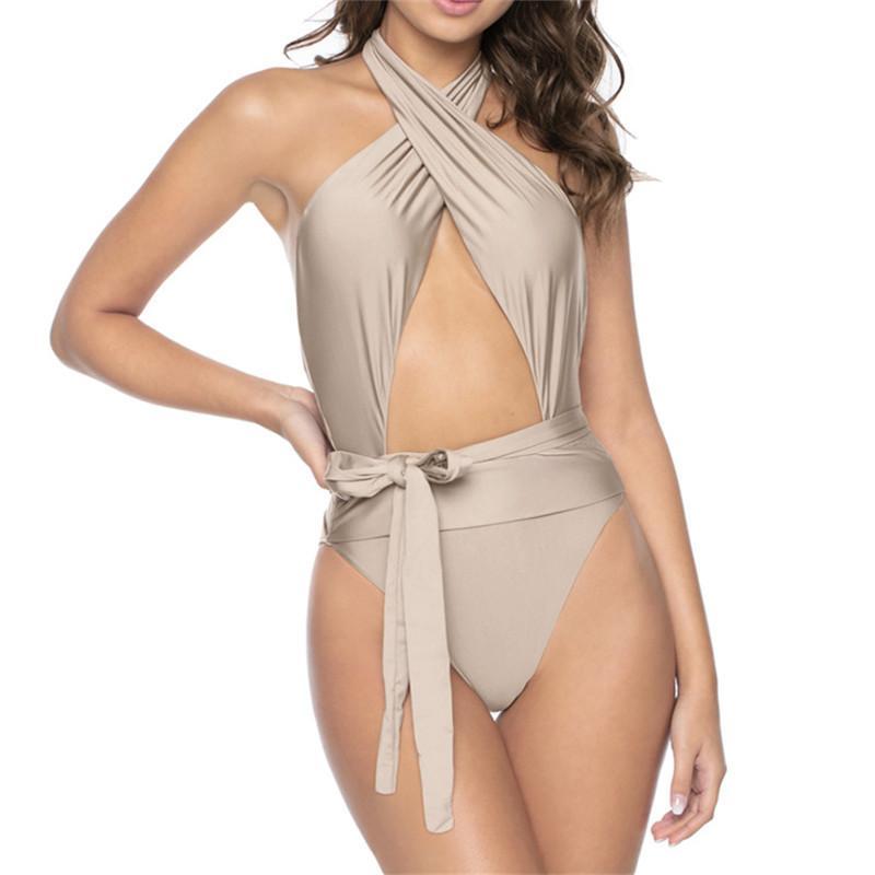 Personality Sexy Hollow Bikini Bow Waistband Solid Bikinis Cross Sling Swim Swimsuit Fashion Seaside Beach Swimwear Female Backless Swimsuit