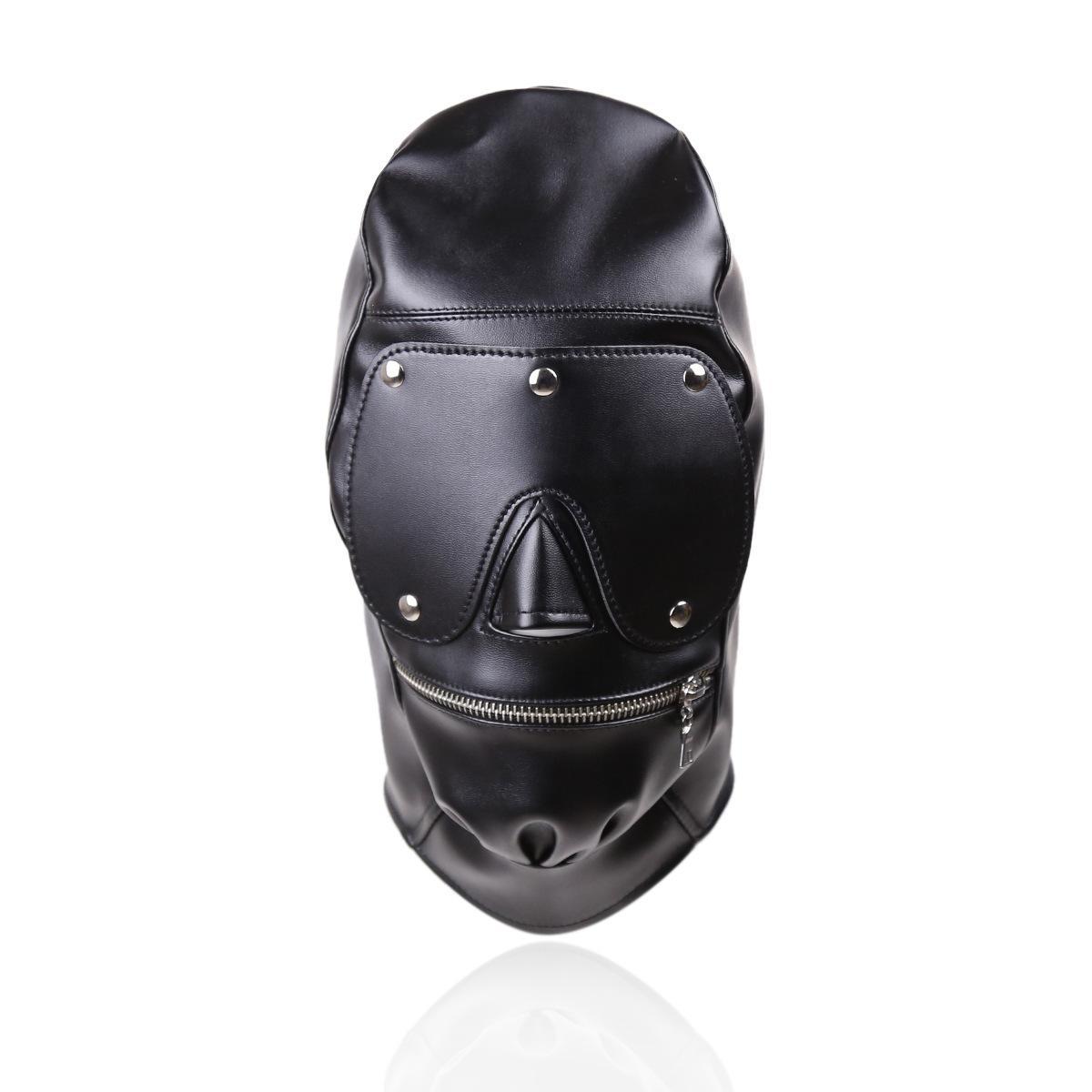 SM Eye Mask Fetish Leather Open Mouth Hood Ball Gag Bondage Erotic For Couple Men Women Adult Game Sex Product Toy T200410