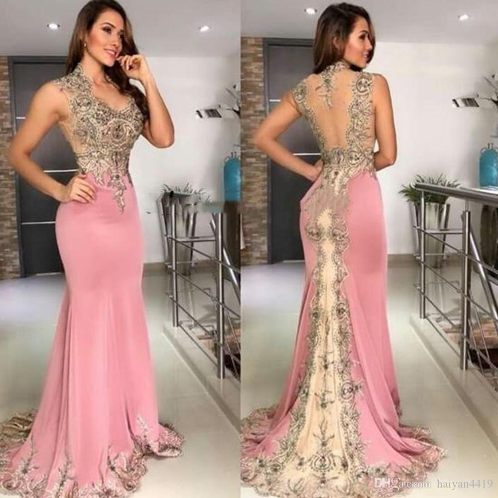 2020 Sexy Cheap Pink Mermaid Evening Dresses Wear V Neck Lace Appliques Crystal Beaded Sleeveless Sheer Back Formal Prom Dress Party Gowns