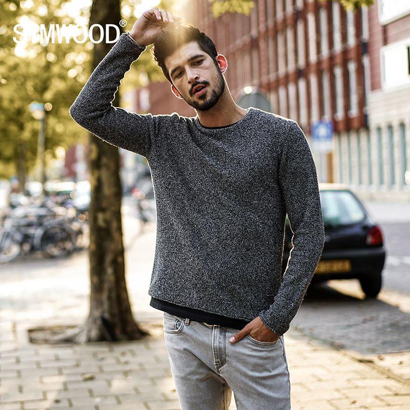 SIMWOOD 2019 Primavera Invierno Nueva informal suéter de lana de los hombres de color de punto Jerseys Moda delgado regalo de Navidad Fit masculino MT017026 SH190930