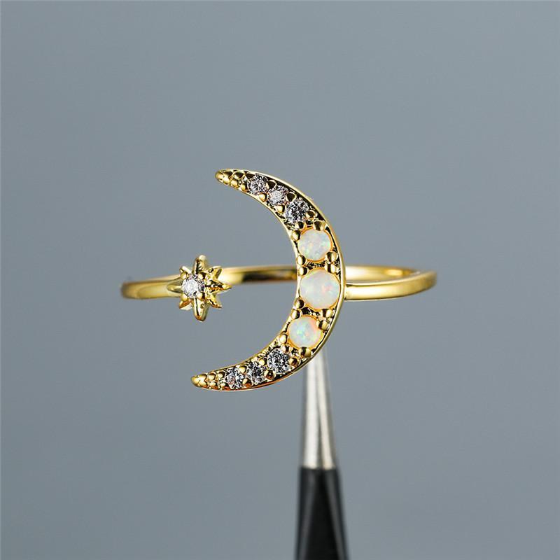 럭셔리 여성 화이트 오팔 스톤 링 맛좋은 골드 컬러 조정 결혼 반지의 간단한 여성을위한 스타 문 얇은 약혼 반지