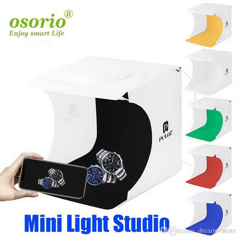 20 * 20cm 8 Mini pliant studio Diffuse doux Boîte avec lumière LED Lightbox Noir Blanc Photographie arrière-plan Photo boîte studio