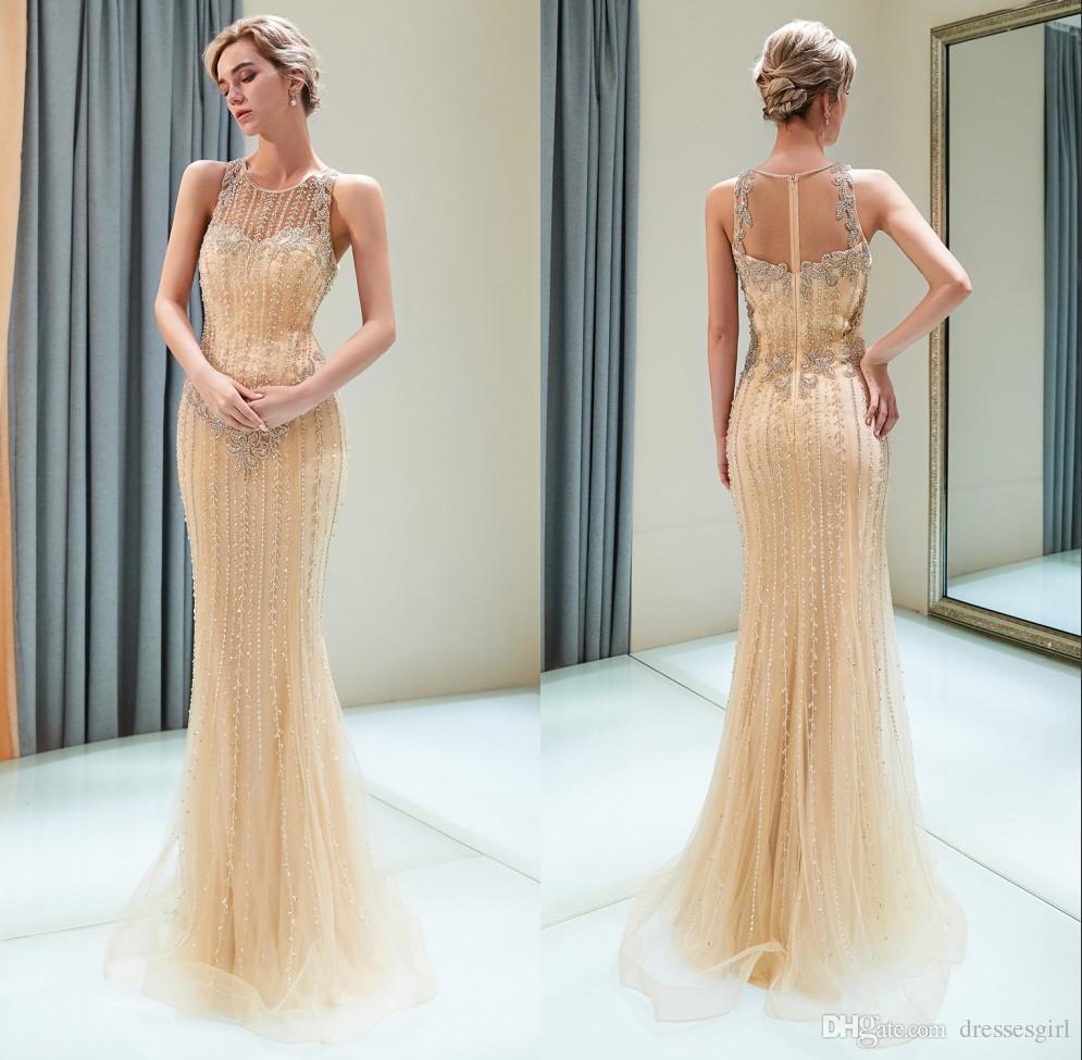 2019 новый дизайн элегантный Золотой Русалка вечерние платья с бисером иллюзия назад без рукавов длина пола платья выпускного вечера CPS1169