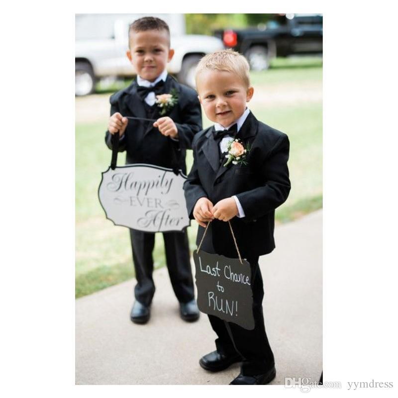 Custom Boys Suit 2019 Black Boy Wedding Tuxedos Kids Birthday Party Wear Ring Bearer Suits (Jacket+Pants+Vest+Bow)
