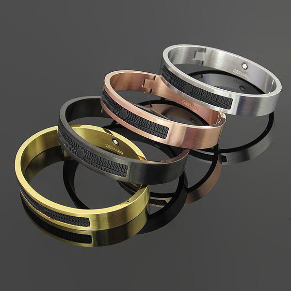 homens marca steelpure inoxidável titânio pulseira de aço ouro rosa Mont Pulseira mulheres presente de Dia Resin Bracelet dos Namorados