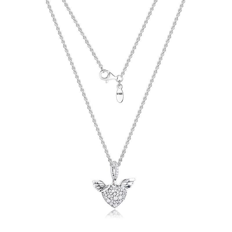 Pave Stones Heart & Angel Wings Silver Necklaces for Women Fashion Female Choker Necklace 925 Sterling Silver Jewelry Chain Girl