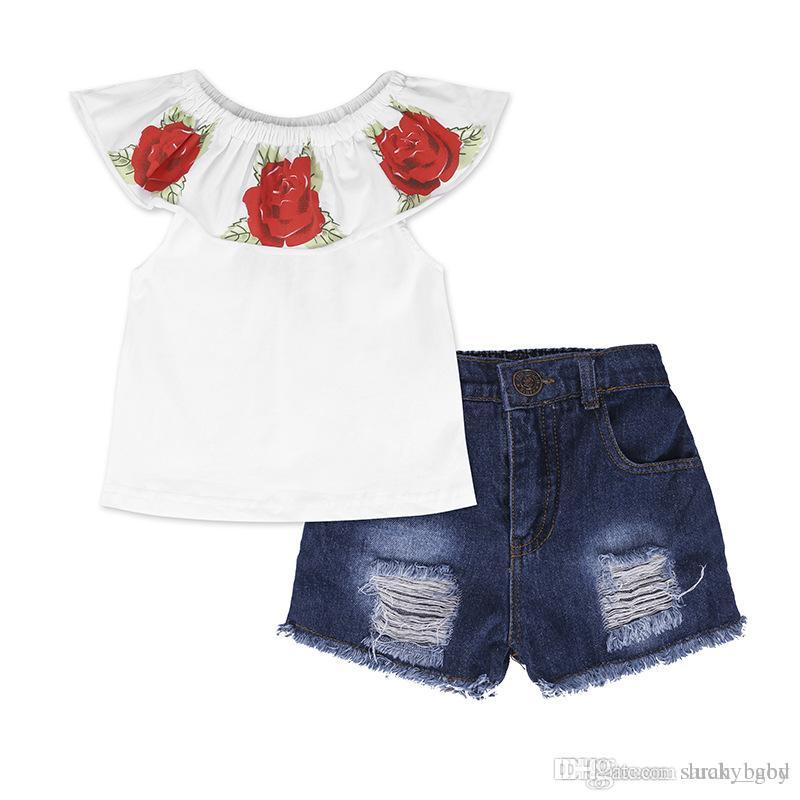 2018 New Summer Children's Wear Girls Set Rose One-Shoulder Round Neck Short Sleeve Floral T-shirt + Shorts Baby & Kids Daily Clothing
