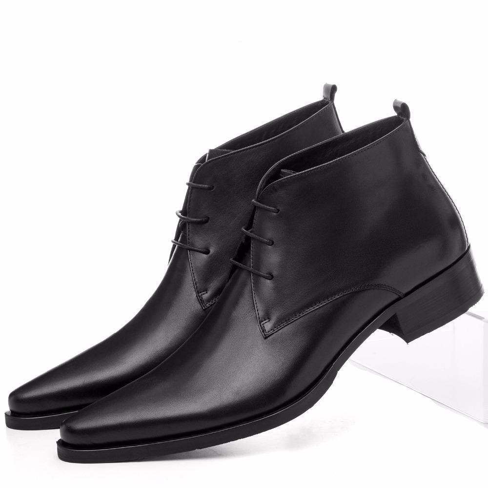 Tamanho Grande EUR46 Pointed Toe Dress Shoes Mens Tornozelo Botas de casamento sapatos de couro genuíno sapatos vestido Botas comercial masculino
