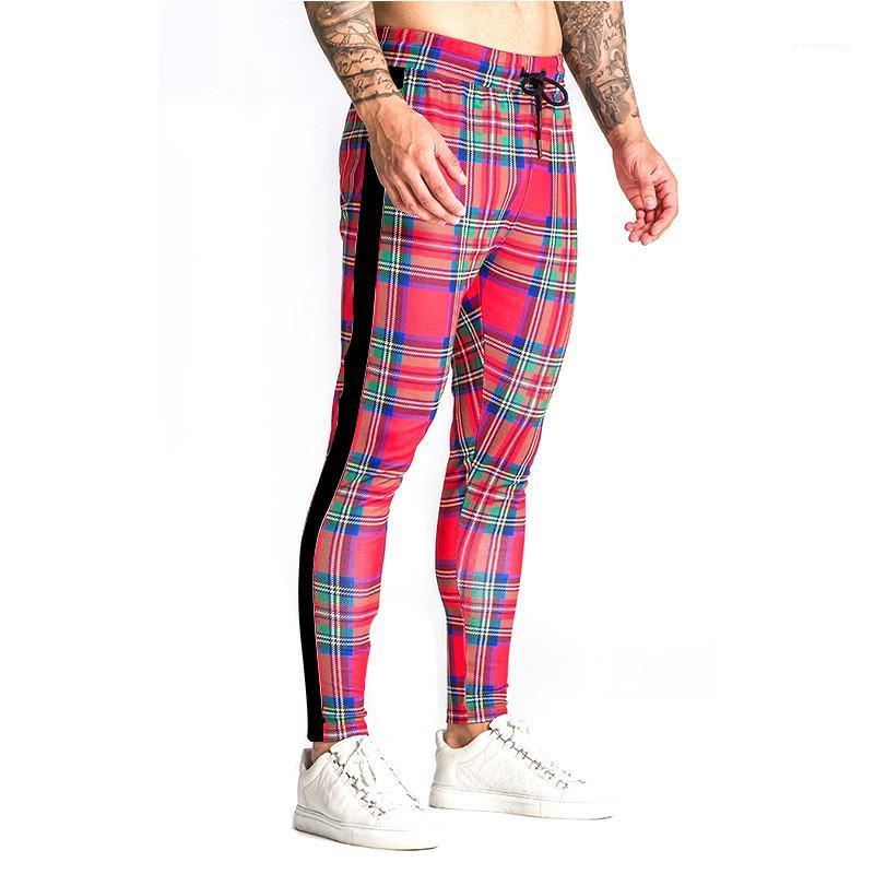 Hosen Fashion Kordelzug Bleistift-Hosen Mens Regular mittlere Taillen-Plaid-Druck in voller Länge Hosen Mens-dünne