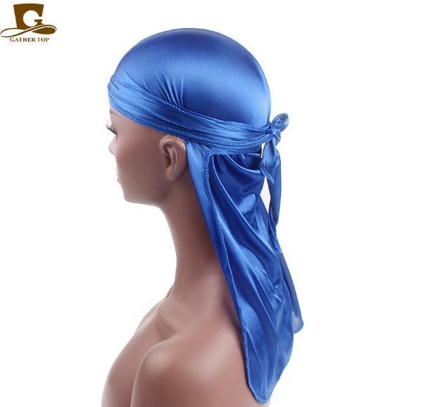Fashion-2019 raso Durags Bandana Turbante Parrucche Uomini Silky Durag fascia Pirate Hat Accessori per capelli da uomo di moda