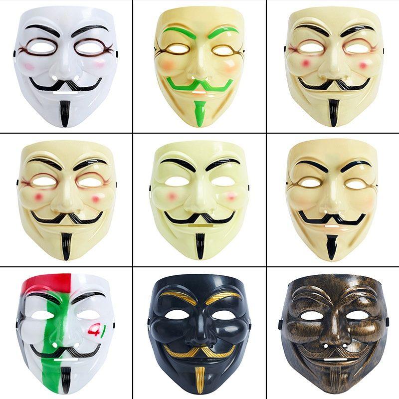 Halloween Vendetta Maske Vollgesichts Film-Schablonen-Maskerade-Dekoration Requisiten V Partei Männlich Weiblich Halloween-Maske 9 Stil HHA735