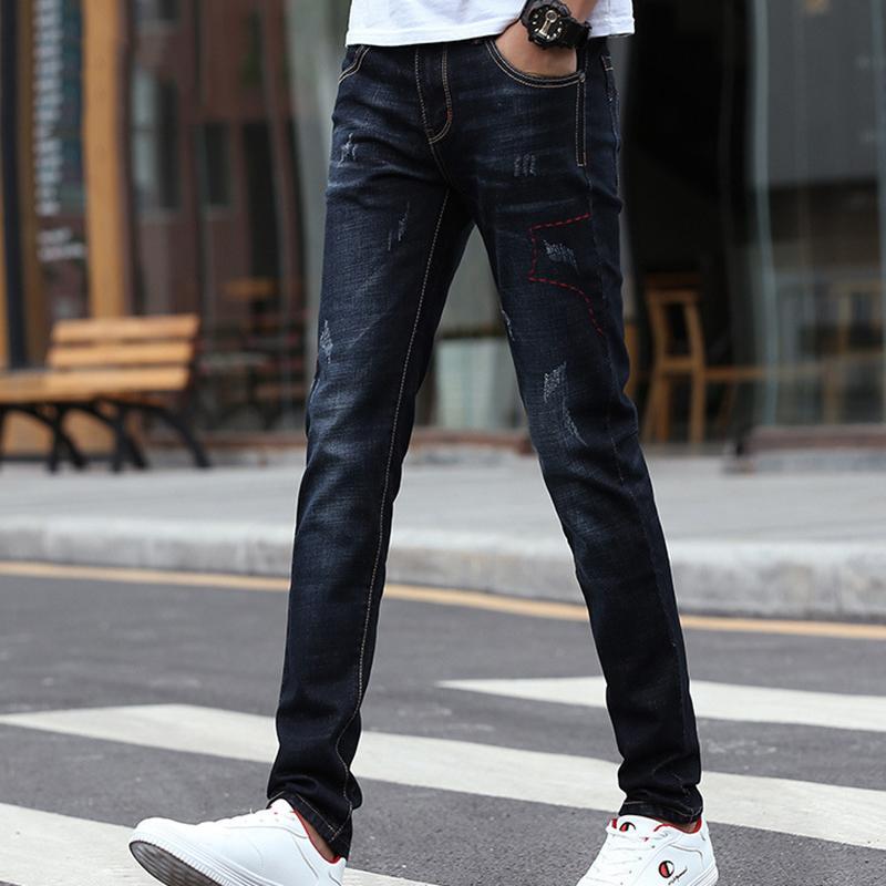 Yaz Sonbahar Jeans Kalem Pantolon Rahat Jeans Erkek Genç Öğrenci Pantolon Yeni Erkekler Moda Slim Stretch