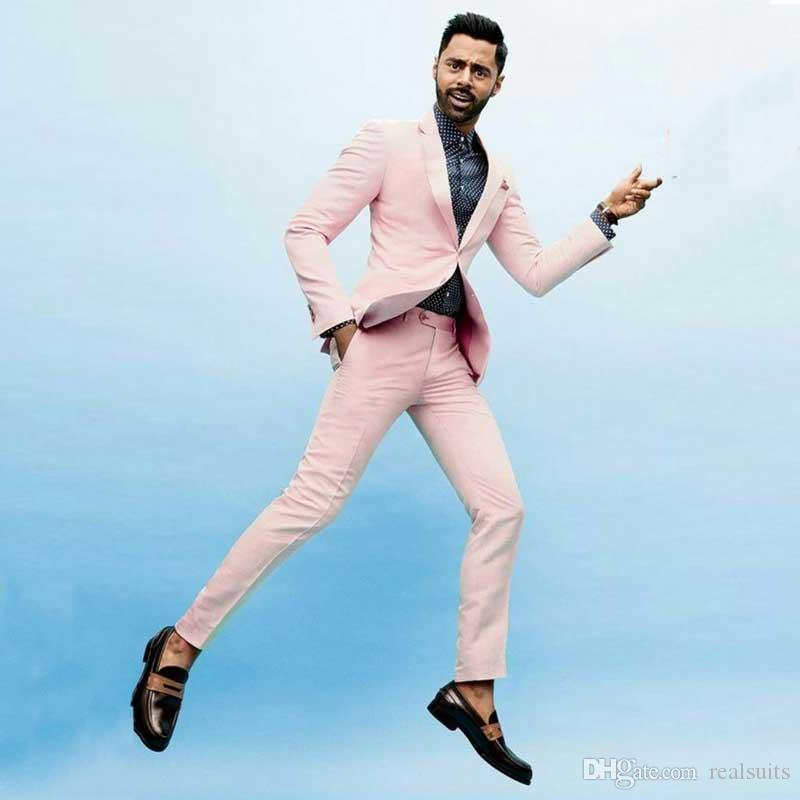 New Fashion Hot Pink Men Suits for Wedding 2019 Terno Masculino 2Piece(Jacket+Pants)Groom Tuxedo Suits Men Blazer Custom Made Costume Homme
