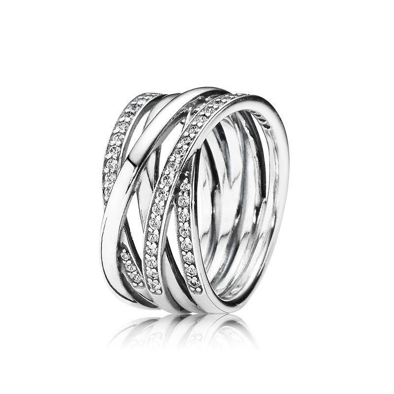 정통 925 스털링 실버 럭셔리 링 여성 쥬얼리 Pandora 스파클링 폴리 쉬드 라인 반지 약혼 반지 원래 상자 세트