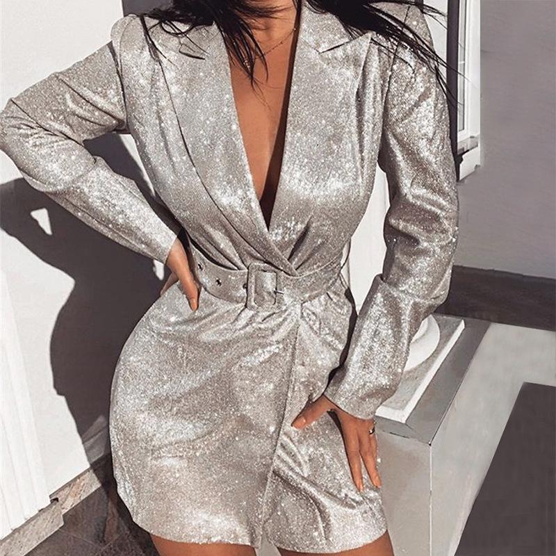 Argento Sequin lungo vestito sexy scollo a V Basso cinghia della cassa manica lunga del partito delle donne Blazer slim cardigan 2020 New Style