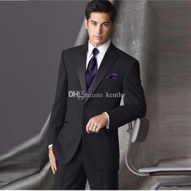 2019 preto Homens ternos para ternos de casamento do noivo desgaste do negócio repicado lapela smoking Formal personalizado Slim Fit Best Man Blazers 2 pedaço Jacket + Pants