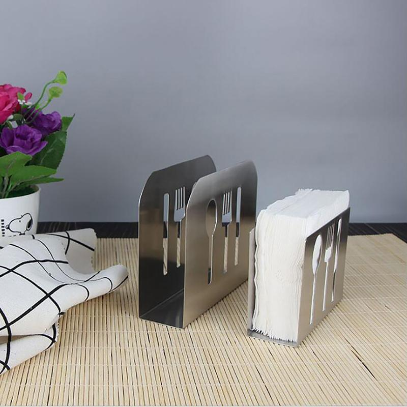 Tissue Rack Box For Home Stainless Steel Tissue Holder Table Decoration Boxes Cutlery Hollow-Out Design Gadgets