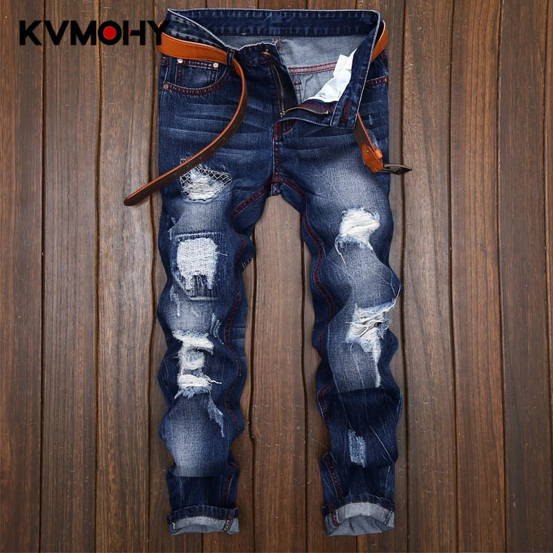 Erkek Jeans Hiphop Moda Casual Jeans Erkek Ripped Pantolon Kot Pantolon Tide Siyah Erkekler Sıkıntılı Homme Streetwear