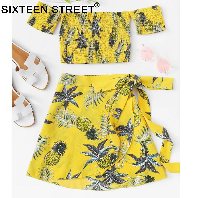 New Style Yellow White Printed Women 2 Pieces Set Strapless Top And Loose Skirt Short Sleeve Sexy Women Set New Summer Tops Y19042901