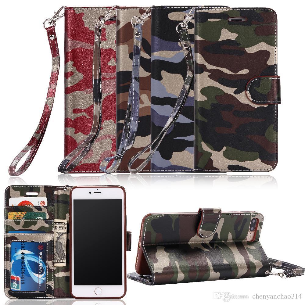 Кожаный армейский камуфляж камуфляж чехол для iPhone 7 6 6 S Plus 5 5S SE Pattern PU карты бумажник чехол броня защитные чехлы для телефона