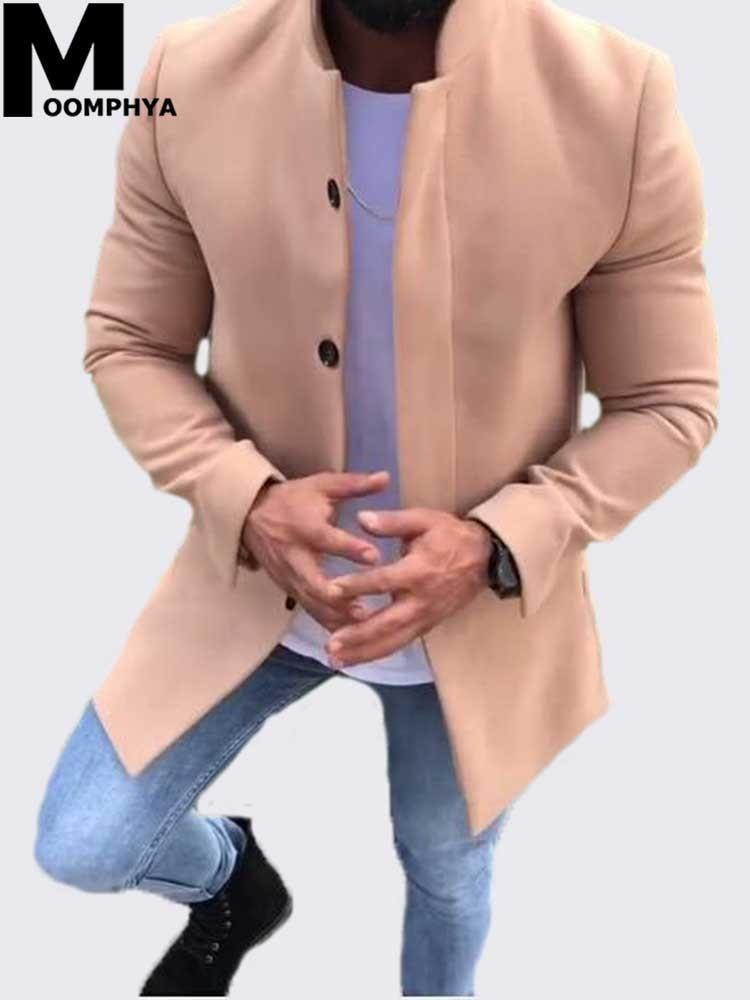Moomphya 2019 llegaban nuevos hombres de la capa larga del estilo del color sólido rompevientos capa de foso de los hombres de manga larga para hombre de la chaqueta del abrigo outwear