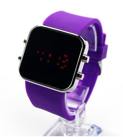 Producción Reloj de pulsera de gel de sílice Estudiante Espejo Reloj de pulsera Carcasa de aleación Led Espejo Fideos Mesa Multicolor Opcional