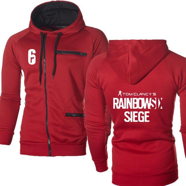 Rainbow Six cerco camisola Imprimir Jacket Men Primavera Outono velo Harajuku Aqueça Zipper Hoodies Mens Hoodies masculino Roupa H