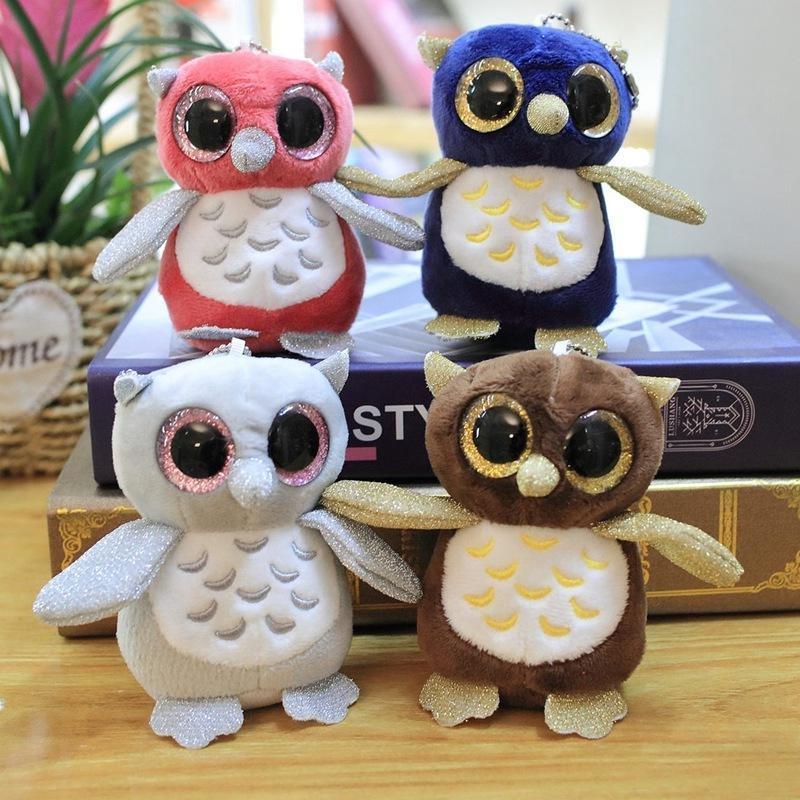 1pc 10cm Big Eyes Owl Plush Toy Soft Stuffed Cartoon Cute Animal Doll Key Chain Backpack Bag Pendant Toy Girls Kid Birthday Gift