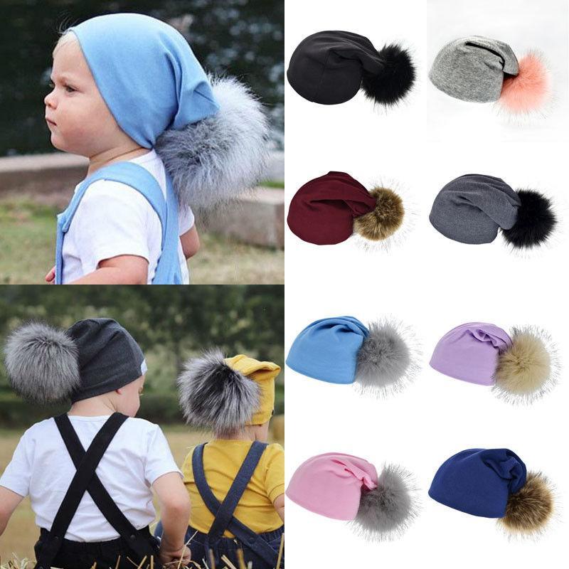 Sevimli Bebek Çocuk Kız Erkek Şapka Kış Moda Yumuşak Sıcak Katı Tığ Örgü Ponpon Kürk Çocuk Beanie Şapka 1-4Y Caps