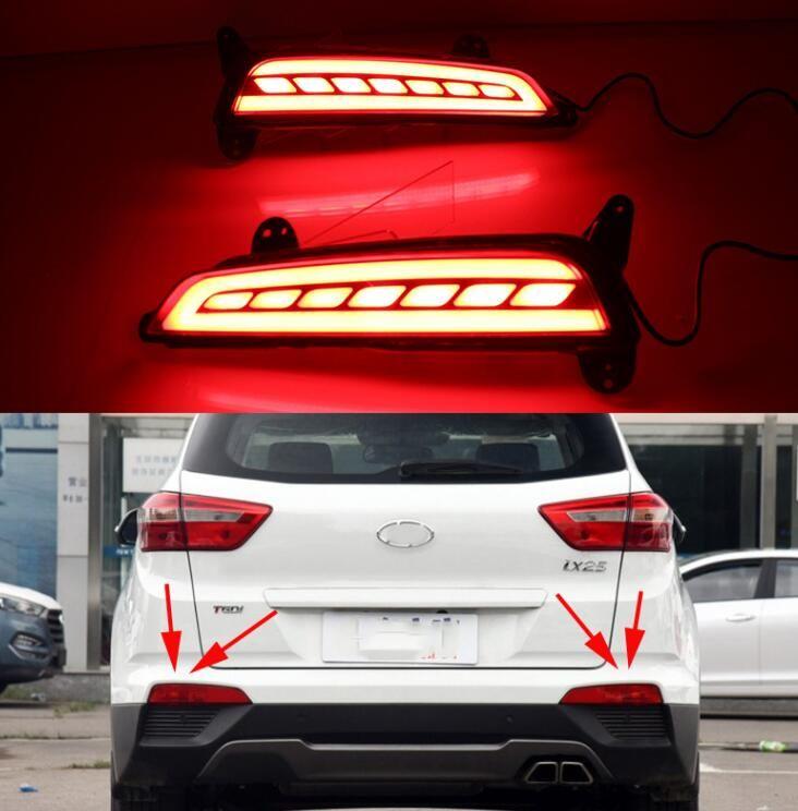 2Pcs LED Rear Bumper Light For Hyundai Creta IX25 2015 2016 Brake Light Rear Fog Lamp Turn Signal Light car styling